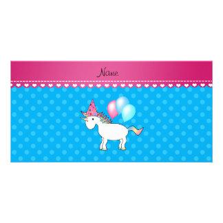 Custom name birthday unicorn blue polka dots photo greeting card
