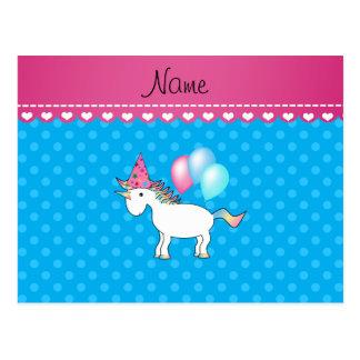 Custom name birthday unicorn blue polka dots post cards