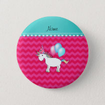 Custom name birthday unicorn hot pink chevrons button
