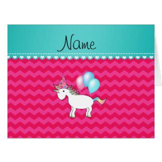 Custom name birthday unicorn hot pink chevrons cards