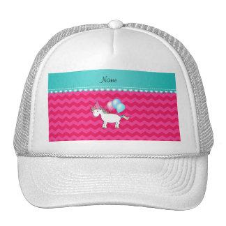 Custom name birthday unicorn hot pink chevrons trucker hat