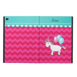 Custom name birthday unicorn hot pink chevrons powis iPad air 2 case
