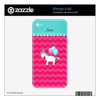 Custom name birthday unicorn hot pink chevrons iPhone 4 skin