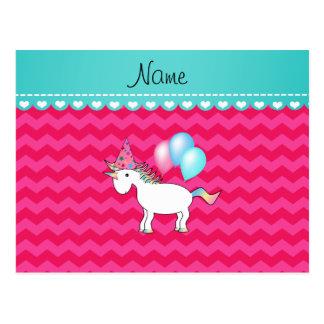 Custom name birthday unicorn hot pink chevrons postcards