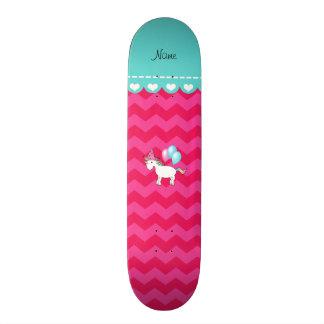 Custom name birthday unicorn hot pink chevrons skate boards