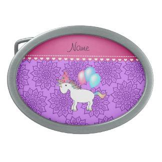 Custom name birthday unicorn pastel purple flowers belt buckle