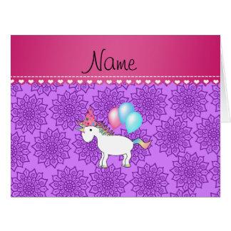 Custom name birthday unicorn pastel purple flowers greeting cards