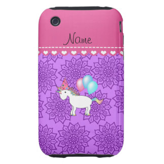 Custom name birthday unicorn pastel purple flowers tough iPhone 3 cases