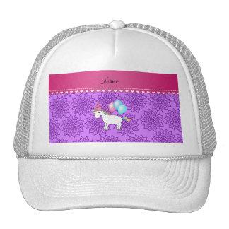 Custom name birthday unicorn pastel purple flowers trucker hat