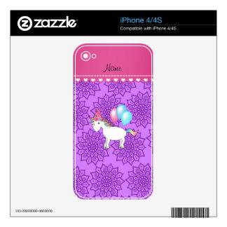 Custom name birthday unicorn pastel purple flowers iPhone 4S decal