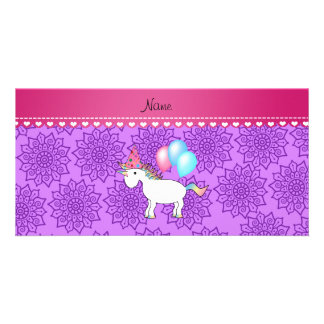 Custom name birthday unicorn pastel purple flowers photo cards