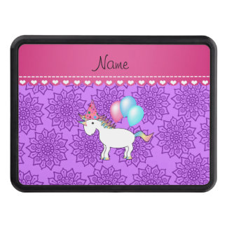 Custom name birthday unicorn pastel purple flowers tow hitch covers