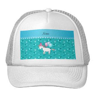 Custom name birthday unicorn turquoise party hats