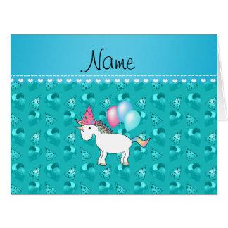 Custom name birthday unicorn turquoise party hats card