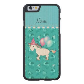Custom name birthday unicorn turquoise party hats carved maple iPhone 6 slim case