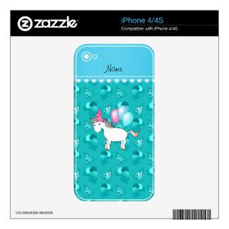 Custom name birthday unicorn turquoise party hats iPhone 4 decals