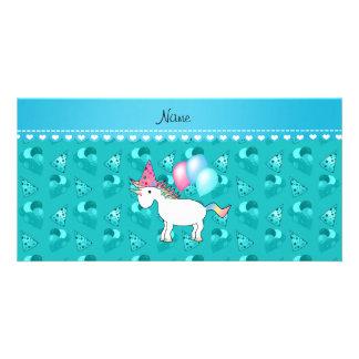 Custom name birthday unicorn turquoise party hats photo card