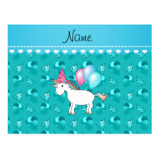 Custom name birthday unicorn turquoise party hats post card