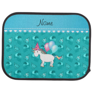Custom name birthday unicorn turquoise party hats car mat