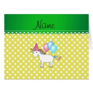 Custom name birthday unicorn yellow dots card