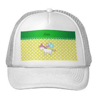 Custom name birthday unicorn yellow dots trucker hat