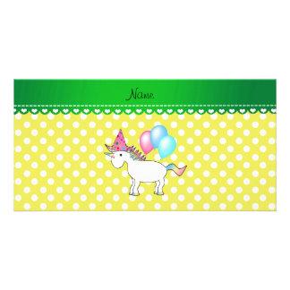 Custom name birthday unicorn yellow dots photo card