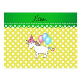 Custom name birthday unicorn yellow dots post card