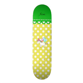 Custom name birthday unicorn yellow dots skate deck
