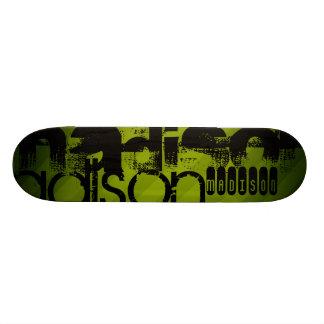 Custom Name, Black and Olive Green Skateboard Deck