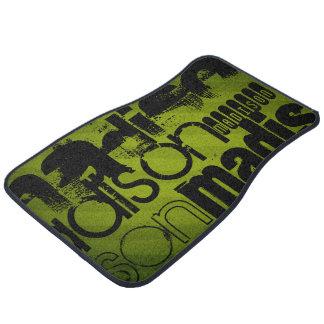 Custom Name, Black and Olive Green Floor Mat