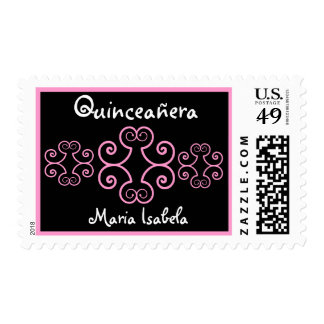 CUSTOM NAME  Black and Pink  Quinceanera Stamp