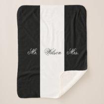 Custom Name Black and White Mr. and Mrs. Sherpa Blanket