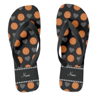 Custom name black basketballs and hearts flip flops