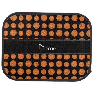 Custom name black basketballs black stripe car mat
