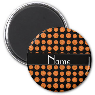 Custom name black basketballs black stripe magnet