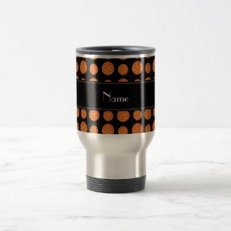 Custom name black basketballs black stripe coffee mug