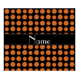 Custom name black basketballs black stripe posters