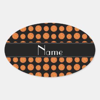 Custom name black basketballs black stripe oval stickers