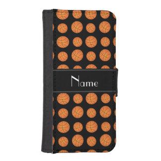 Custom name black basketballs black stripe wallet phone case for iPhone SE/5/5s