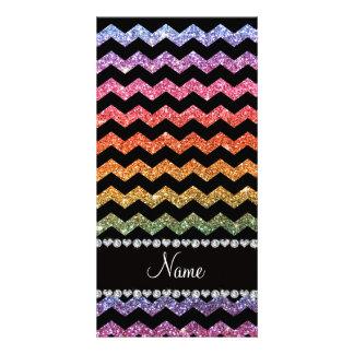 Custom name black bright rainbow glitter chevrons photo card template