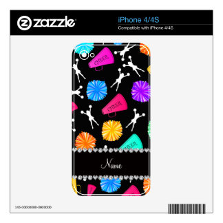 Custom name black cheerleading pompoms decal for iPhone 4