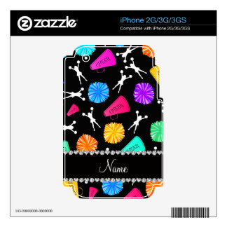 Custom name black cheerleading pompoms iPhone 3G skin