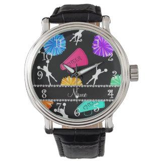 Custom name black cheerleading pompoms wrist watch