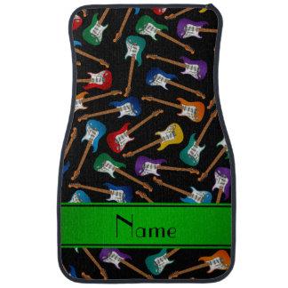 Custom name black colorful electric guitars car floor mat
