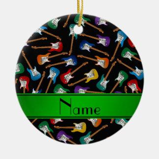 Custom name black colorful electric guitars ceramic ornament