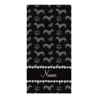 Custom name black dachshunds hearts paws photo card template