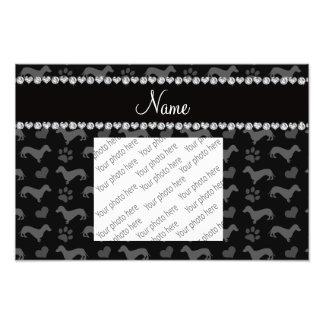 Custom name black dachshunds hearts paws photographic print