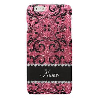 Custom name black fuchsia pink glitter damask glossy iPhone 6 case