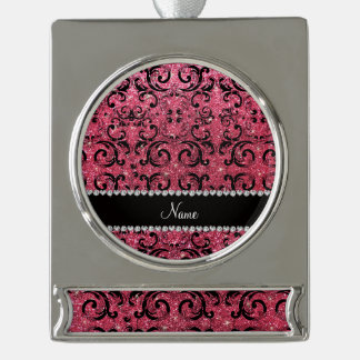 Custom name black fuchsia pink glitter damask silver plated banner ornament