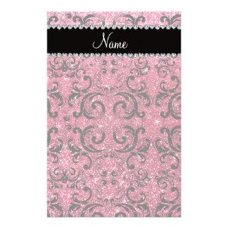 Custom name black fuchsia pink glitter damask personalized stationery